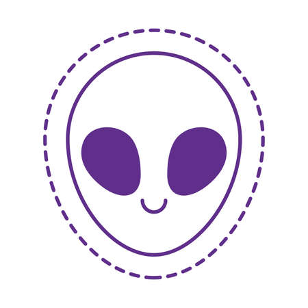 alien cartoon line style icon design, Cute patch expression emoticon and childhood theme Vector illustration