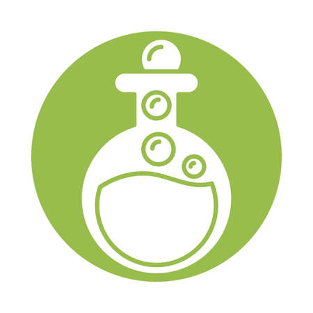 flask with bubbles , silhouette style icon vector illustration design