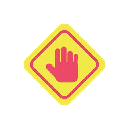 stop hand sign icon over white background, flat style and colorful design, vector illustration