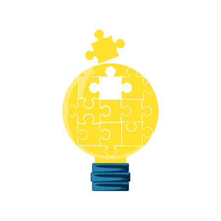 puzzles pieces in shape light bulb vector illustration design