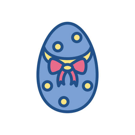 easter egg with yellow dots over white background, line style icon, vector illustration Ilustrace