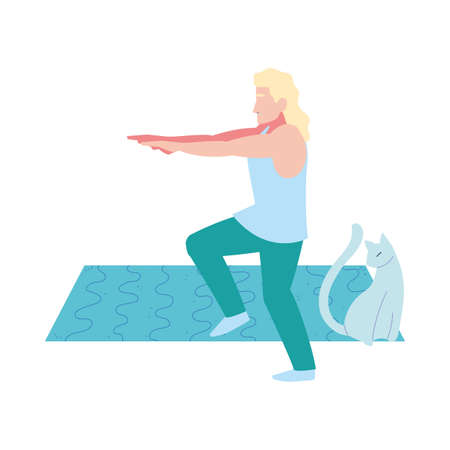 man doing stretching exercises in the company of her pet vector illustration design