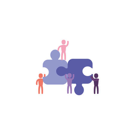 Puzzles and avatars design, Jigsaw game object teamwork match toy element connection and solution theme Vector illustration