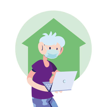 man with mask working at home vector illustration design Çizim