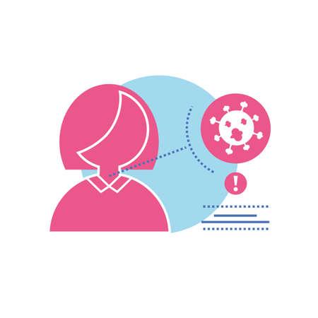 infographic of woman with symptoms of coronavirus vector illustration design