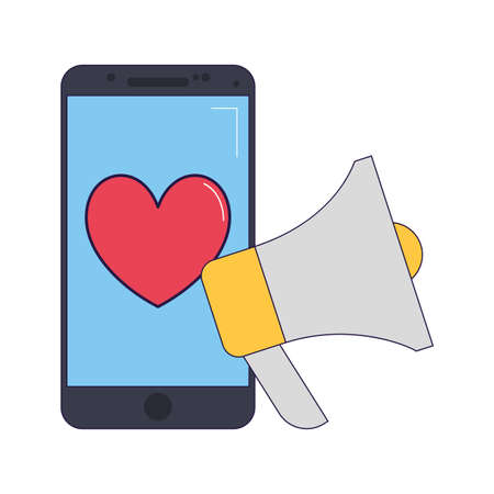 megaphone and smartphone with heart icon over white background, vector illustration