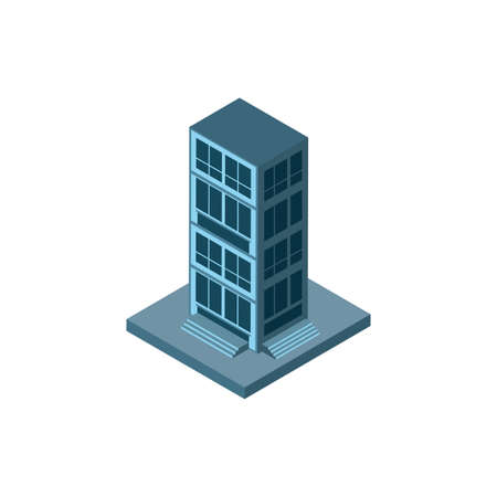 Isometric grey building design, City architecture urban modern downtown contemporary metropolis exterior and construction theme Vector illustration