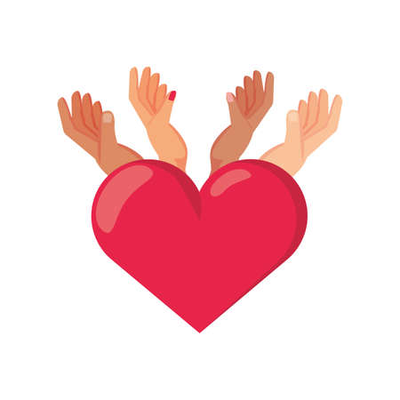 hands with heart on white background vector illustration design Vectores