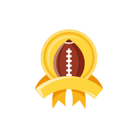 Ball inside seal stamp design, American football super bowl sport hobby competition game training equipment tournement and play theme Vector illustration
