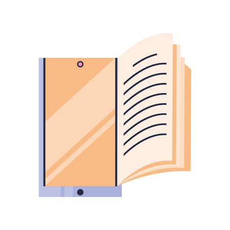smartphone with book, audio book vector illustration design