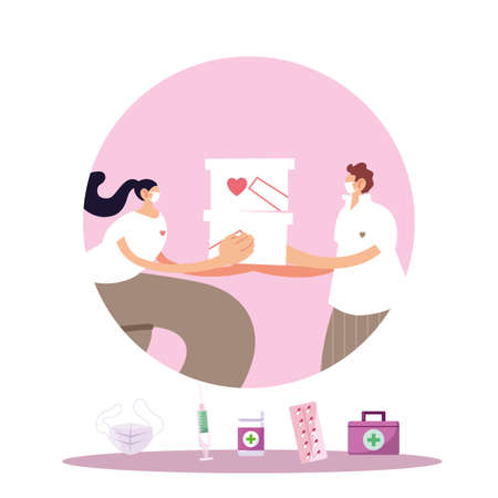 couple with mask and medical products vector illustration design Vettoriali