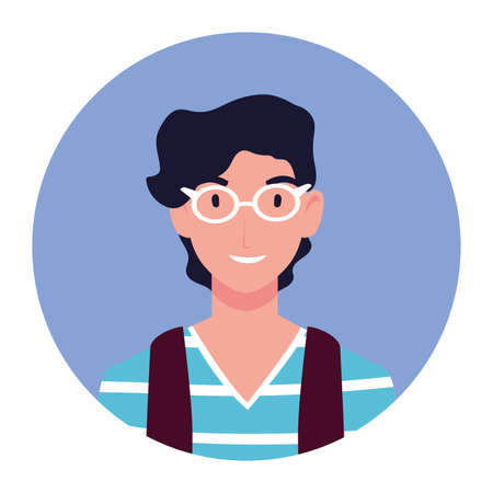 young man on blue background circle vector illustration design