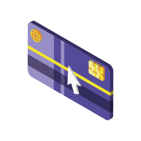 credit card with cursor on white background vector illustration design Illustration
