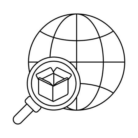 global market with cardboard box , line style icon vector illustration design Vettoriali