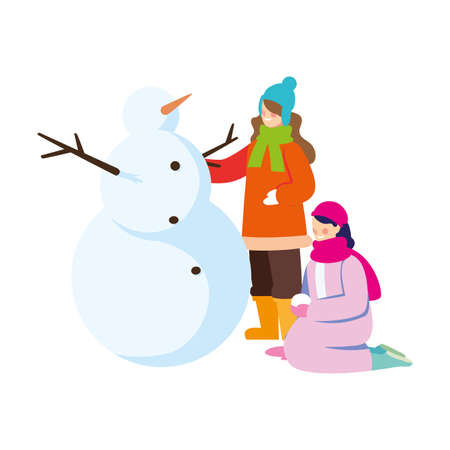 women with snowman on white background vector illustration design