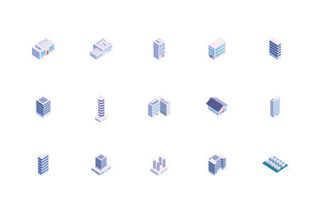 Isometric white buildings set design, City architecture urban modern downtown contemporary metropolis exterior and construction theme Vector illustration 向量圖像