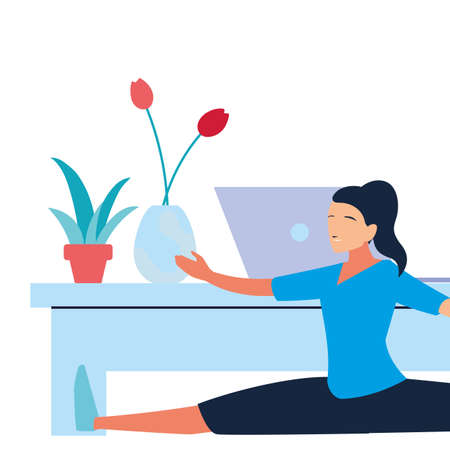 woman doing stretching exercises at home vector illustration design