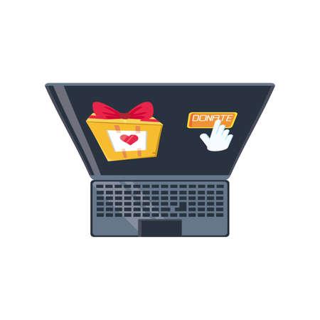 laptop with donation gift on white background vector illustration design Illustration