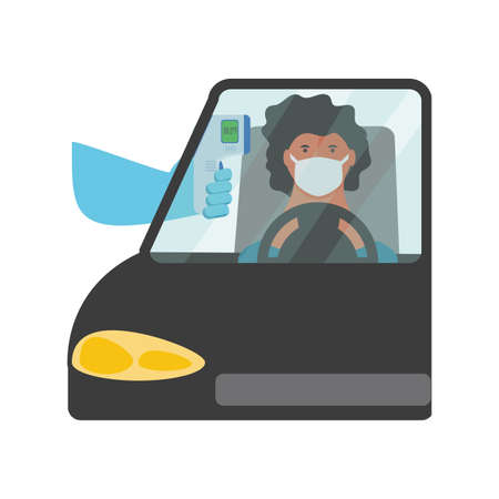 checking body temperature in the car on white background vector illustration design Vectores