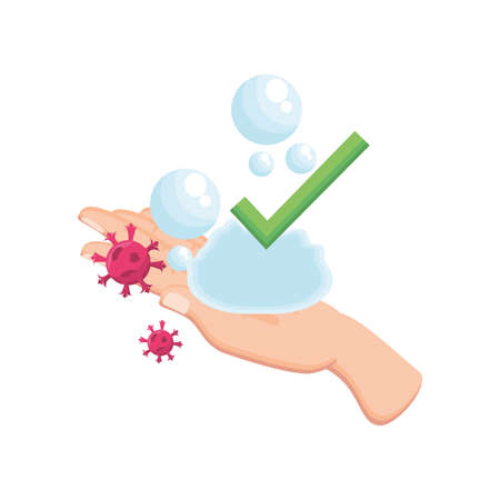 washing hand with coronavirus on white background vector illustration design Vectores