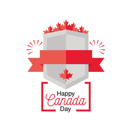 happy Canada day with shield and maple leaf vector illustration design