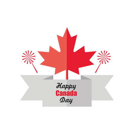 happy Canada day with maple leaf vector illustration design