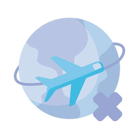 plane flying around planet earth , flat style icon vector illustration design