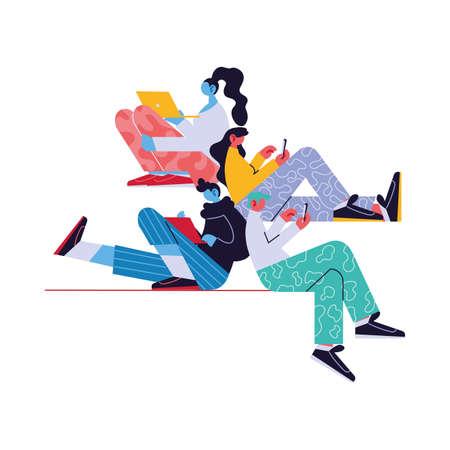 personnes connectées en ligne par différents moyens électroniques conception d'illustration vectorielle