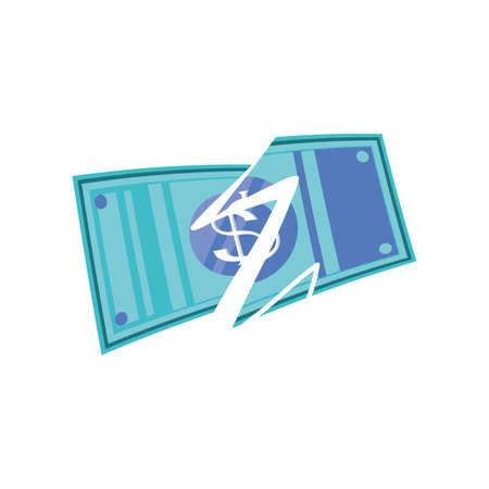 torn banknote on white background vector illustration design