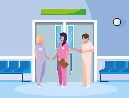 group medicine workers in elevator door vector illustration design Illustration