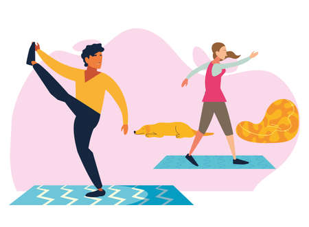 couple doing stretching and strength exercise in living room vector illustration design