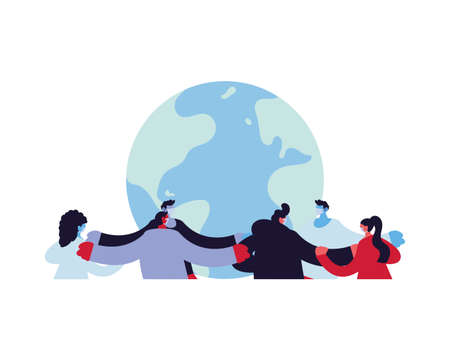 world unity fighting the coronavirus vector illustration design