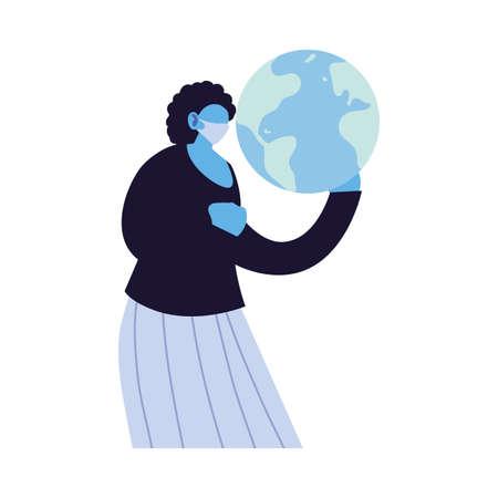 woman united against increased coronavirus vector illustration design Çizim