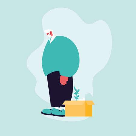 businessman jobless by coronavirus, unemployment vector illustration design