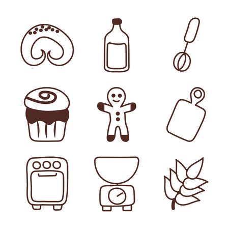 set of icons bakery, line style icon vector illustration design Illusztráció