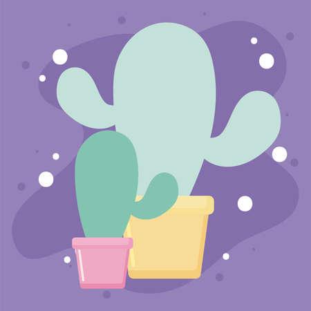 Cactus plants inside pots design, Desert nature art tropical summer succulent mexico and cacti theme Vector illustration