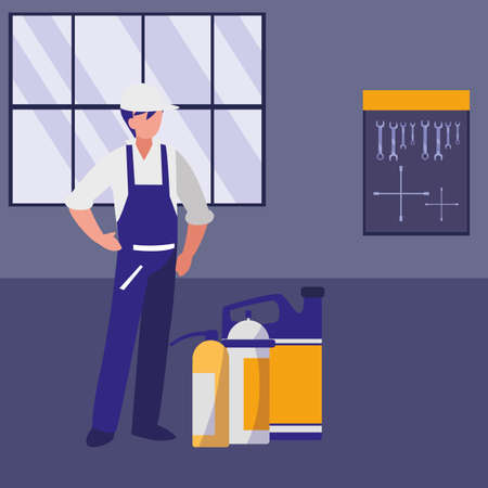mechanic worker with oil gallon vector illustration design