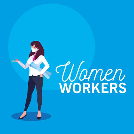 Architect woman with mask and plans design, Women workers occupation and job theme Vector illustration