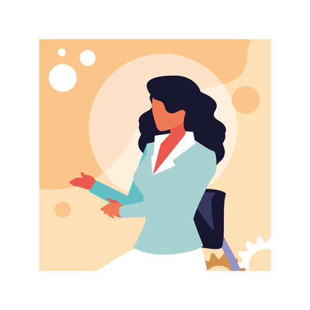 businesswoman sitting in office chair , business professional woman vector illustration design