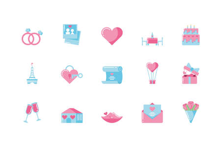 Icon set design of Love valentines day wedding passion romantic decoration and marriage theme Vector illustration Vectores