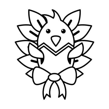 chicken with eggshell on white background vector illustration design