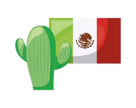 cactus with flag mexican isolated icon vector illustration design