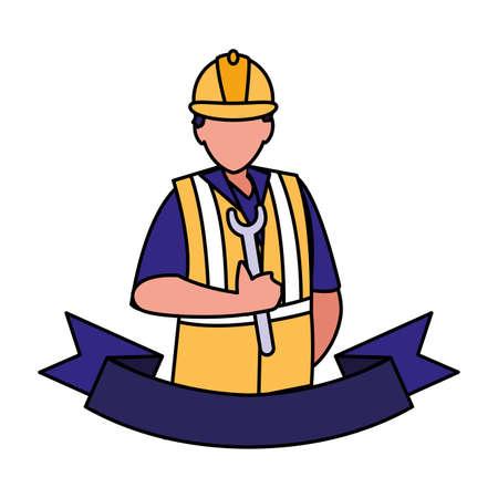technician man in uniform with equipment on white background vector illustration design Stock Illustratie