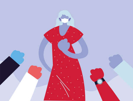 poster woman with medical face mask, fighting coronavirus vector illustration design