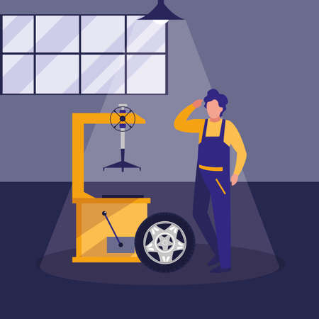 mechanic worker with tire changer machine vector illustration design