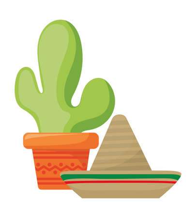 cactus with hat mexican isolated icon vector illustration design