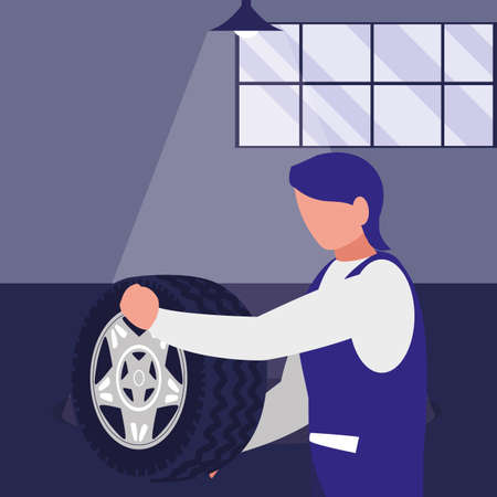 mechanic worker with tire car vector illustration design