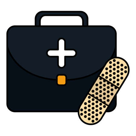 medical kit with cure band vector illustration design