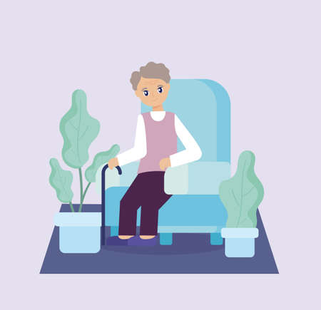 elderly care, old man sitting on the sofa vector illustration design