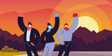 fighter people using face masks vector ilustration designe Çizim